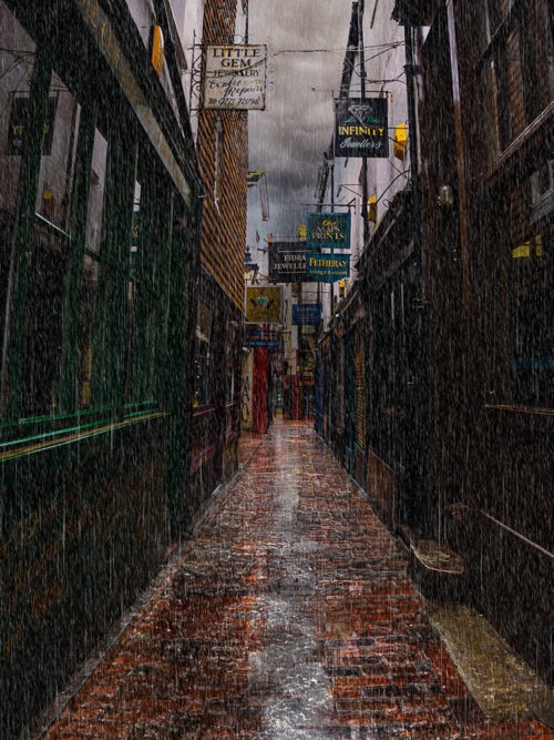 Dickensian. The Lanes in the rain, Brighton. By Brian Roe