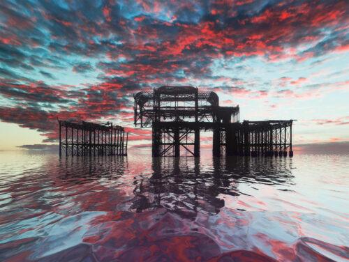 West pier fiery sky reflections. By Brian Roe