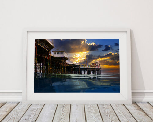 Sunburst over the Palace Pier, Framed photograph - By ©Brian Roe