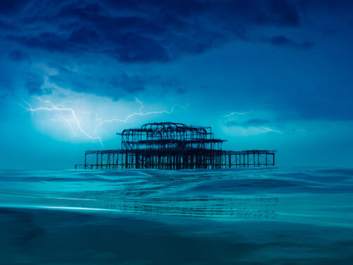 Storm. Thunder and Lightning over the West Pier by Brian Roe