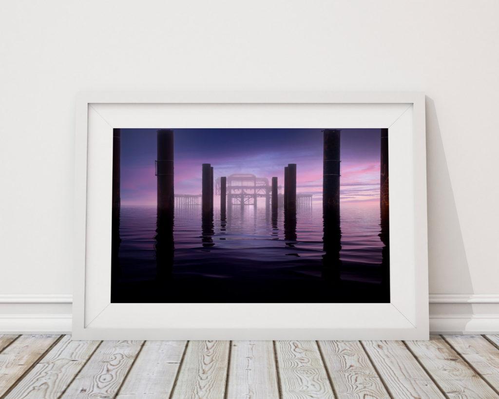 Misty Morning at the West Pier-framed-floor