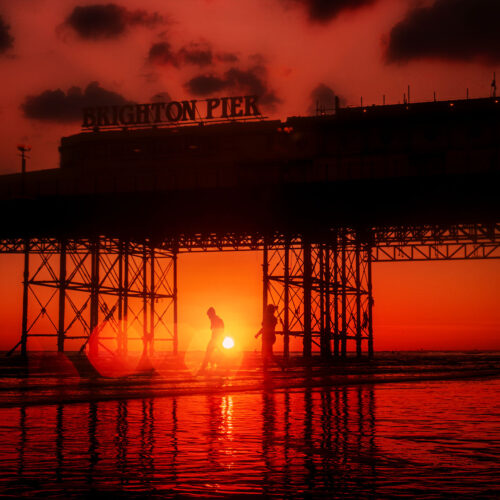 Palace Pier People in the sunset-site- by Brian Roe